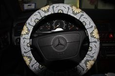 Steering Wheel Cover . Gray Floral Cover Wheel . by SouthernAplus