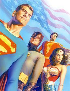 Alex Ross draws the TV versions of Superman (George Reeves), Batman (Adam West), Wonder Woman (Lynda Carter), and Captain Marvel (Jackson Bostwick. Adam West Batman, Batman Robin, Batman And Superman, Superman Stuff, Spiderman, Superman Family, Batman Art, Batman Comics, Lynda Carter
