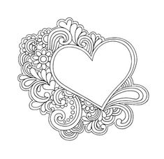 Best Coloring: Heart doodle coloring pages - Amazing Coloring sheets - Doodle Coloring, Mandala Coloring Pages, Coloring Book Pages, Printable Coloring Pages, Coloring Sheets, Heart Doodle, Doodle Art, Arte Quilling, Free Adult Coloring