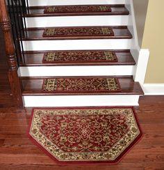 """Dean Premium Carpet Stair Treads - Classic Keshan Claret 31"""" W (Set of 15) Plus…"""