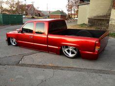 Love the red. Mini Trucks, Gm Trucks, Cool Trucks, Cool Cars, Chevrolet Trucks, Chevrolet Silverado, Dream Car Garage, Lowered Trucks, Chevy Girl