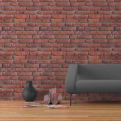 Faux Stone Wall Panels, Fake Brick Wall, Brick Wall Paneling, Faux Stone Walls, White Brick Walls, Brick Wallpaper Home Depot, Textured Brick Wallpaper, Brick Patterns, Red Bricks