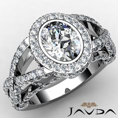 Oval Diamond Engagement Ring Certified by GIA, G Color & VS1 clarity, 14k White Gold (2.22 ct. Total weight.)