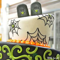 """""""His and Hers"""" Halloween Wedding Cake by Beverly's Best Bakery"""
