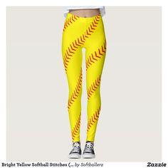 Wow! Bright Yellow Softball Stitches (Seams) Leggings! #softball #softballoutfits