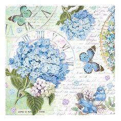 blue butterflies and hydrangeas napkin