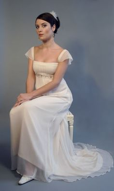 Jane Austen 19th Century Regency Georgian wedding dress.