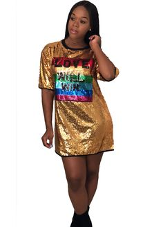 Short Sleeve Gold Sequin Mini Dress_Club Dress_Clubwear Clothing_Sexy Lingeire | Cheap Plus Size Lingerie At Wholesale Price | Feelovely.com