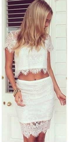 White Two Piece Set Semi Sheer Scalloped Lace Pencil Short Sleeve Crop Top Skirt