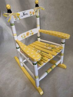 child's hand painted rocking chairs, sunflower rocker, kids rocking chairs by babydreamdecor on Etsy