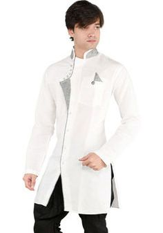 Buy New Looks Front Open White Remie Linen Pathani Kurta for Mens at Discounted Prices only on available at www.vshoppingmart.com