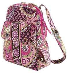 "Vera Bradley Backpack in Very Berry Paisley. 10 ½"" W x 13""H x 4"" D with 2"" handle drop and 31 ¼"" adjustable shoulder straps"