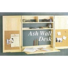 Ash wall desk drop down desk surface woodworking plans for diy Woodworking Jig Plans, Woodworking School, Woodworking Patterns, Woodworking Supplies, Easy Woodworking Projects, Woodworking Furniture, Woodworking Classes, Woodworking Machinery, Woodworking Equipment