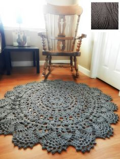 Crochet Doily Rug, floor, charcoal gray grey- Lace- large area rug, Cottage Chic- shabby home decor- rustic round rug, French Country Decor