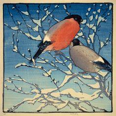 ✨ Allen William Seaby, British (1867-1953) - Bullfinches, Colour Woodcut
