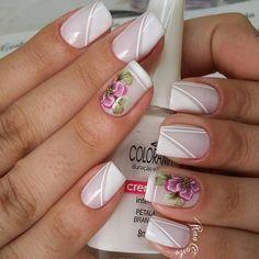 Ideias de Unhas decoradas com esmalte branco Silver Nails, Glam Nails, Fancy Nails, White Nails, Toe Nails, Pink Nails, Beauty Nails, Fingernail Designs, Nail Polish Designs