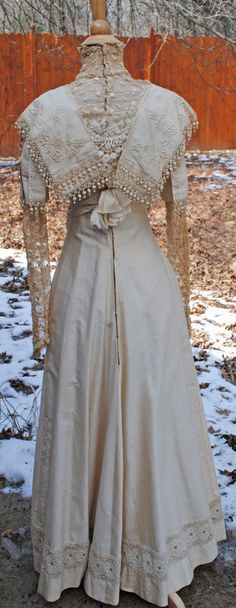 ANTIQUE DRESS EDWARDIAN c1915 WORSTED COTTON FANCY DAY DRESS GOWN | eBay