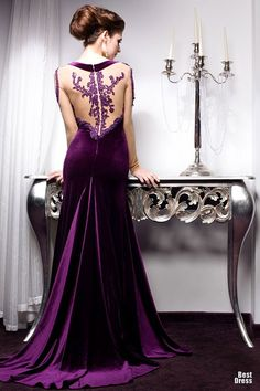 Long purple dress with lace detail on back