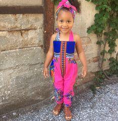 Baby girl toddler vintage inspired playsuit romper jumpsuit  african prints 0-3m - 5T dashiki pink