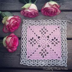 DIY – Victorian Lattice Square o min variant av Lace Join – BautaWitch Joining Crochet Squares, Crochet Square Patterns, Afghan Patterns, Crochet Sachet, Crochet Dollies, Yarn Projects, Crochet Projects, Crochet Bedspread Pattern, Victorian