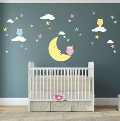 Magical Moon Owl and Stars Wall Decal Wall Stickers Nursery baby decor gender neutral shower gifts pink and blue white clouds (49.95 GBP) by EnchantedInteriorsUK