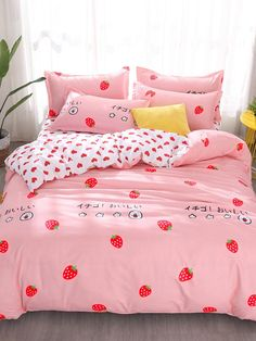 Love Strawberry Pink Pattern Bedding Sets Duvet Cover Bed Sheet Bed Linings Kids Bedding Sets Twin/Full/Queen/King Size Store from the world's largest selection ✔ Exclusive Products ✔ Fast delivery, low cost ✔ Professional Service Cute Bedding, Kids Bedding Sets, Cosy Bedroom, Bedroom Decor, Bed Quilt Sizes, Pastel Room, Dreams Beds, Bed Sets, Dream Rooms
