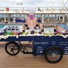 One of our Promotion Bikes carrying cold beverages on a cruiseship. Thanks to sea chefs Human Resources Services GmbH for this nice picture on such a rainy day. Have a nice week! 😁 -- Gerne würden wir da mal mitfahren: Eines von vielen Fahrrädern auf einem Kreuzfahrtschiff. Mit paul&ernst Food- and Promotionbikes ist nichts unmöglich. Wir wünschen auch an Land eine schöne Woche! 😀 -- #cruise #cruiseship #bike #imbissrad #champaign #reise #travel #paulundernst Street Food, Beverages, Bike, Canning, Ride Along, Snack Station, Bicycle, Nice Asses, Bicycles