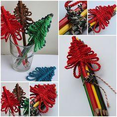 Leuk als traktatie op school zo rond de kerstdagen. Gekleurde potloden met een kerstboompje van een ketting van lossen. Simpel maar zo leuk!
