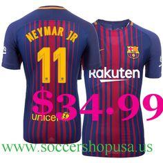 Cheap Barcelona 2017-18 Football Shirts 11 #Neymar JR Home Royal Soccer Jerseys For Sale