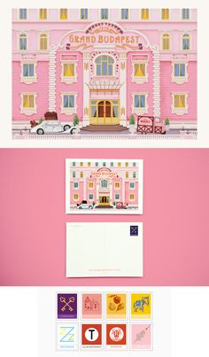 Wes Anderson Movie Postcards: The Grand Budapest Hotel...they even have custom stamps!