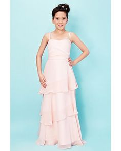 Pearl Pink Tiered Spaghetti Straps Chiffon Long Junior Bridesmaid Dress | LynnBridal.com