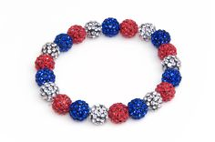 New England Patriots Shamballa Beaded Bracelet by TeamWraps on Etsy