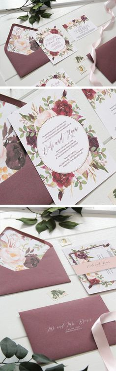 Marsala floral wedding invitation. Burgundy invitation perfect for a fall wedding. Wine wedding invitations. Maroon and blush wedding invitation. Marsala and blush wedding invitation perfect for an outdoor wedding or rustic wedding. By Unica Forma #BurgundyWeddingIdeas