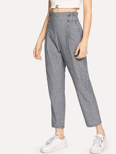 Striped Double Button Frill Trim Pants – Agodeal Source by agodealglobal de moda para niñas grandes Skirt Pants, Trouser Pants, Moda Junior, Fashion Pants, Fashion Outfits, Salwar Pants, Type Of Pants, Pants For Women, Clothes For Women