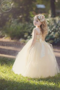 Ivory Champagne Tutu Dress with Flower Sash | Little Dreamers
