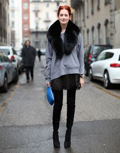 Taylor Tomasi Hill, black fringe skirt, fur collar, grey sweatshirt, thigh high boots, cobalt blue clutch, red hair, updo, middle part, layers, fall, watch style from: atlantishome