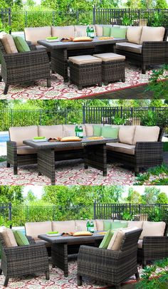 Casual outdoor dining has never looked better than with the Lanai collection. Whether you're hosting an intimate get-together or a larger party with friends, this group offers many comfortable seating options. Sand-colored cushions and woven wicker-look exteriors create a sophisticated vibe. Plus, Sunbrella® fabric ensures years of comfy and durable use.