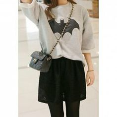 $8.93 Bat Pattern Laconic Style Cotton Blend Color Matching Decorative Sweatshirt For Women