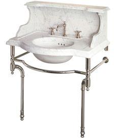 A spectacular console sink from Urban Archaeology.  #fifthwallfriday #ceilume #ceiling #interior #design #diy #bathroom