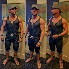 5c01534a0e1a Jumpsuit   Male Romper w  Gladiator Sandals