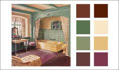 Green, yellow, & plum from house & garden magazine. this vintage color scheme Vintage Color Schemes, Vintage Colors, Interior Paint Colors, Interior Design, American Interior, Paint Color Palettes, 1930s House, Bedroom Color Schemes, Paint Schemes