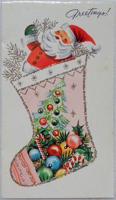 icu ~ Pin on Vintage Christmas ~ 794 MID Century Santa Pink Glittered Stocking VTG Christmas Greeting Card Dollar Store Christmas, Old Christmas, Old Fashioned Christmas, Retro Christmas, Christmas Stockings, Christmas Crafts, Christmas Decorations, Christmas Ornaments, Xmas
