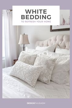 One of the easiest ways to refresh your home is with new bed linen. Here are some of my favorite sources for white bedding and other luxury bedding options. -----> #whitebedding #bedlinen #luxurybedding #bedroomdecor #beddingideas #designthusiasm French Country Interiors, Modern French Country, French Farmhouse Decor, French Country Decorating, Farmhouse Lighting, Farmhouse Furniture, Vintage Farmhouse, Modern Farmhouse, Farmhouse Style