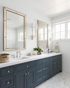 Gold Bathroom, Bathroom Renos, Bathroom Renovations, White Bathroom Cabinets, Marble Bathroom Floor, Bathroom Mirrors, Marble Floor, Blue Cabinets, Marble Countertops Bathroom