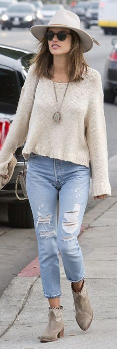 Alessandra Ambrosio: Jeans – Re/Done  Purse = Chloe  Purse and hat – Ale by Alessandra  Shoes – Zadig & Voltaire