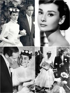 Audrey Hepburn's wedding to Mel Ferrer in 1954. She wore a timeless white ballerina-length gown designed by fashion house Balmain, which was relatively simple yet still remarkably elegant and chic. The gown's cinched waist drew attention to Hepburn's petite figure, and instead of a veil or tiara, she wore a gorgeous crown of fresh flowers in her hair.