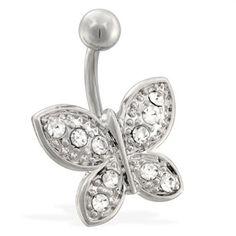 Jeweled butterfly belly ring.  #bellyring #piercing #bodypiercings #bodyjewelry #butterfly ♥ $7.99 via OnlinePiercingShop.com