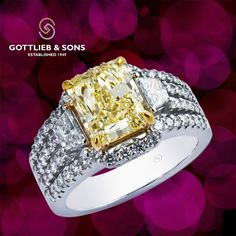 A uniquely special 14K White Gold Yellow Diamond Engagement ring. Visit your…