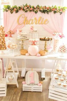 Pumpkin parties are such a popular theme for 1st birthday party. If you're looking for a beautiful example of a pumpkin dessert table look no further. This one is so adorable with a rustic pink vibe, floral decorations, and of course lots of pumpkins! See more party ideas and share yours at CatchMyParty.com #catchmyparty #partyideas #pumpkin #pumpkinparty #pumpkin1stbirthdayparty #fall #fallparty #pumpkindesserttable First Birthday Decorations Girl, Boys 1st Birthday Party Ideas, Fall Birthday Parties, Happy Birthday, Themed Parties, Dessert Table Birthday, Birthday Party Desserts, Dessert Tables, Fall 1st Birthdays