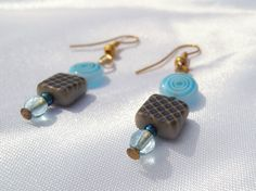 Blue Dangle Earrings Turquoise Drop by ScribbleChickenShop on Etsy, $14.00